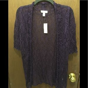 Dress Barn Purple Cardigan Shrug Sweater Size L